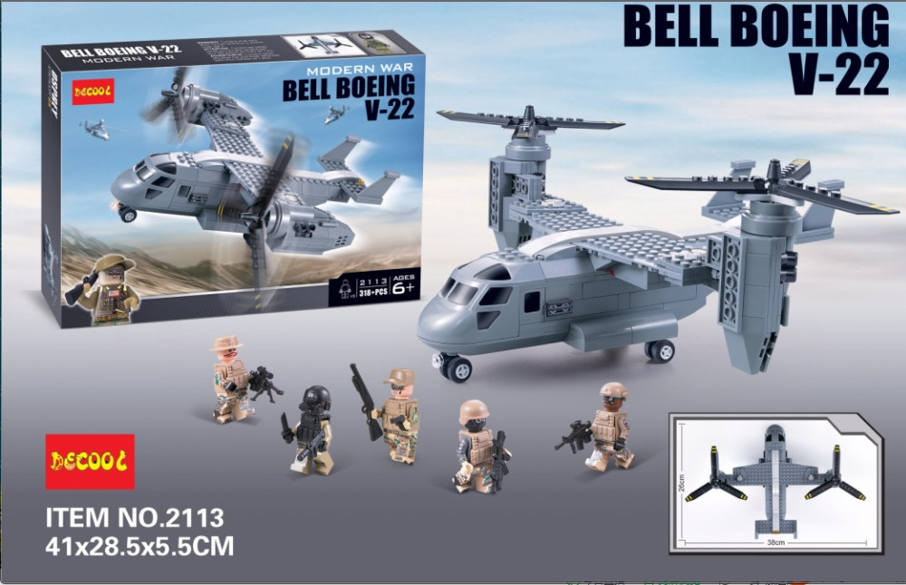 2016 New Decool 318pcs Bell Boeing Osprey Aircraft Model 3D ABS Plastic building blocks Minifigures Compatible With Legoe(China (Mainland))