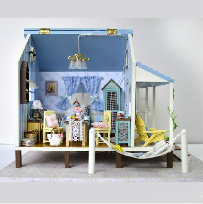 Diy Large Doll House Villa Handmade Model Building Lights Kits Belt 3D Miniature Wooden Dollhouse Toys Christmas Gifts - Children products store