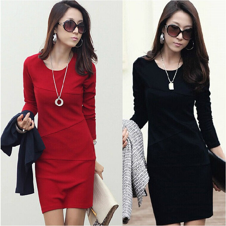 2015 Autumn fashion casual women slim full dress long-sleeve , 4 colors, - Fashion Store1008 store