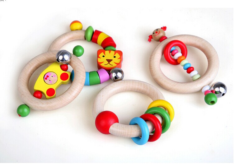 Wooden baby rattles grasping early childhood educational musical toys newborn gifts - Little Genius store