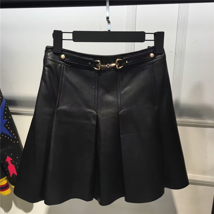 beading real leather skirt 2015 genuine sheep
