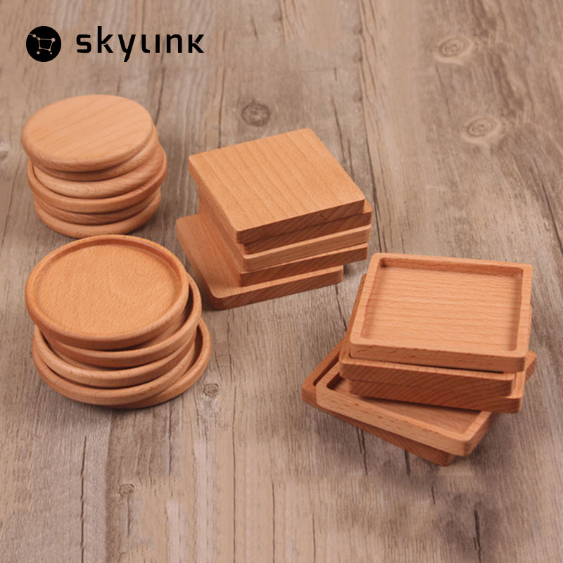 1PCS Square And Round Mini Wooden Pallet Whiskey Wine Glass Cup Mat Pad Hot Cold Drink Coasters Mug Wood Kitchen Table Mats(China (Mainland))
