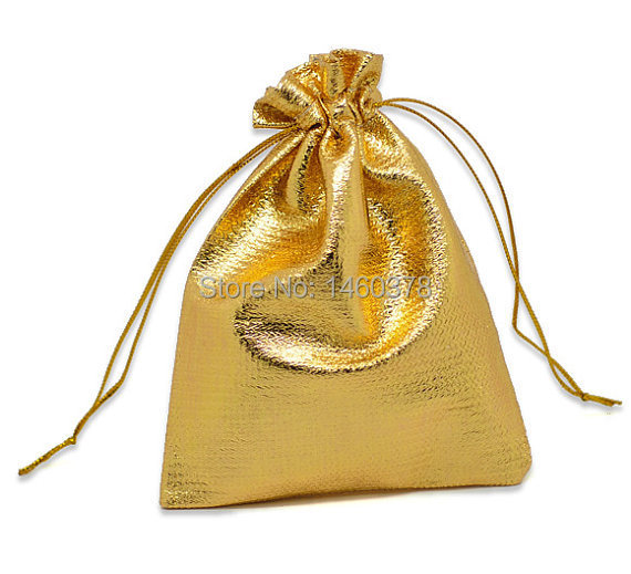 200pcs/Lot 7x9cm gold Plated Satin Jewelry Gift Packaging Bags,small Stain Gift Bag With Drawstring(China (Mainland))