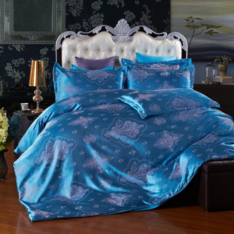 Free shipping,2014 new Silk cotton satin jacquard bedding set.(China (Mainland))