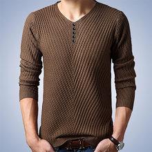 겨울 v-목 스웨터 남자 캐시미어 풀오버 크리스마스 스웨터 망 니트 스웨터 당겨 옴므 저지 hombre 남성 의류(China)