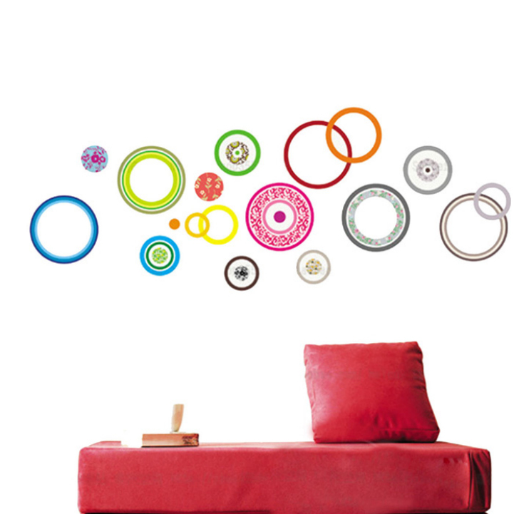 Delicate Colorful Circle Living Room Bedroom TV background Wall Stickers 32*60cm(China (Mainland))