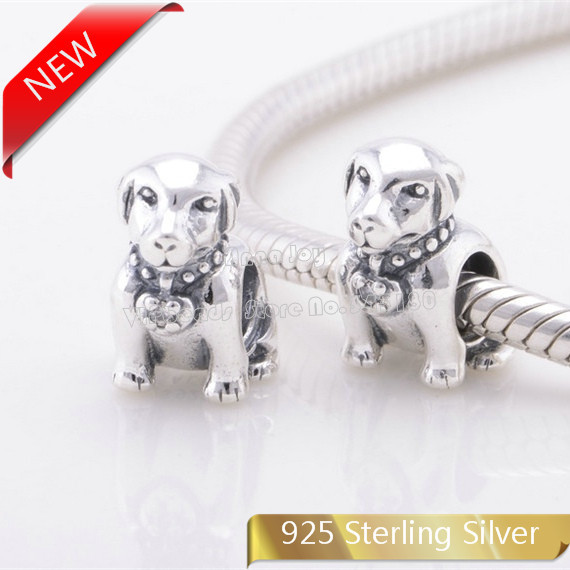 NEW 100% 925 Sterling Silver Screw Core Labrador Dog Charm Bead Fits All European Style Bracelets Necklaces & Pendants LW388(China (Mainland))