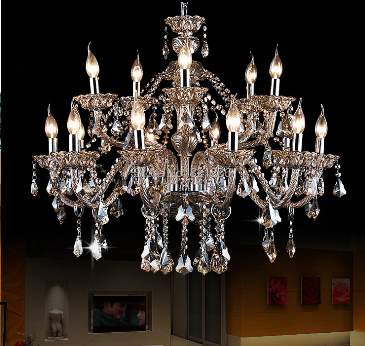 large crystal chandeliers living room modern 15 arm large chandelier crystal lustre for home and. Black Bedroom Furniture Sets. Home Design Ideas