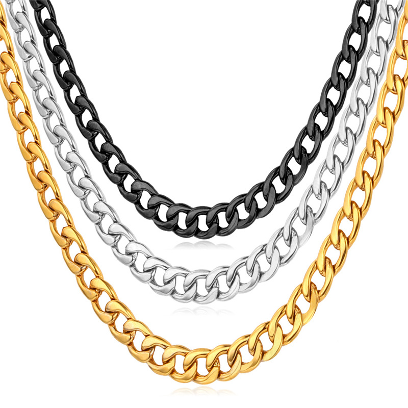 Men's Jewelry Necklace Brand 316L Titanium Steel Never Fade Curb Cuban Chain Necklace Fashion Jewelry For Men Necklace GN227(China (Mainland))