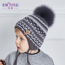 ENJOYFUR Cotton Caps Children Geometric Patchwork Knitted Winter Hats Real Fox Fur Pompom Boy Ears Hat Kids Thick Warm Beanies (China)