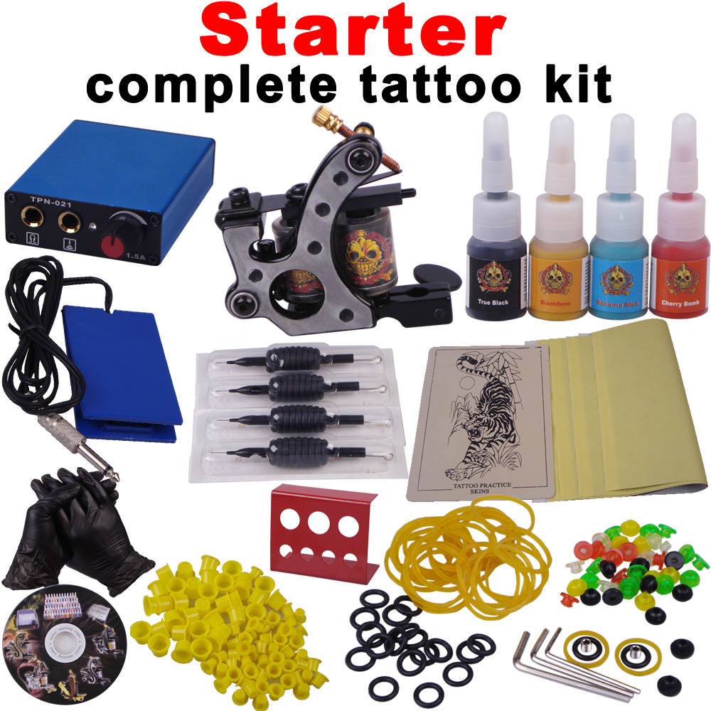 Free Shipping STARTER COMPLETE TATTOO KITS WITH MORE CHEAP STUFF(China (Mainland))