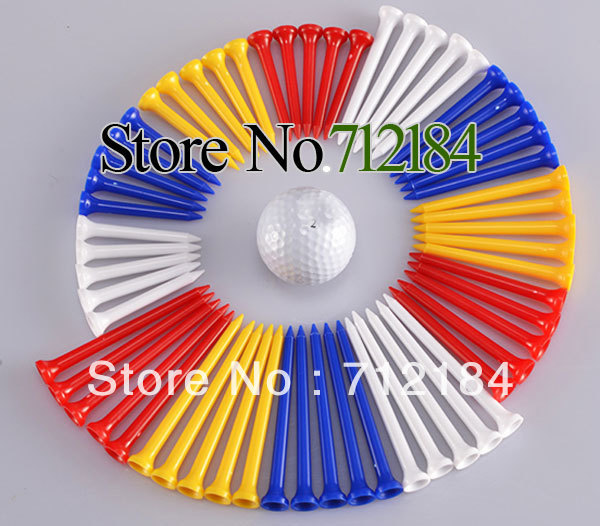 Wholesale golf equipmen Colorful Plastic Golf ball Tees 100Pcs/Lot,Can mix color Free shipping(China (Mainland))