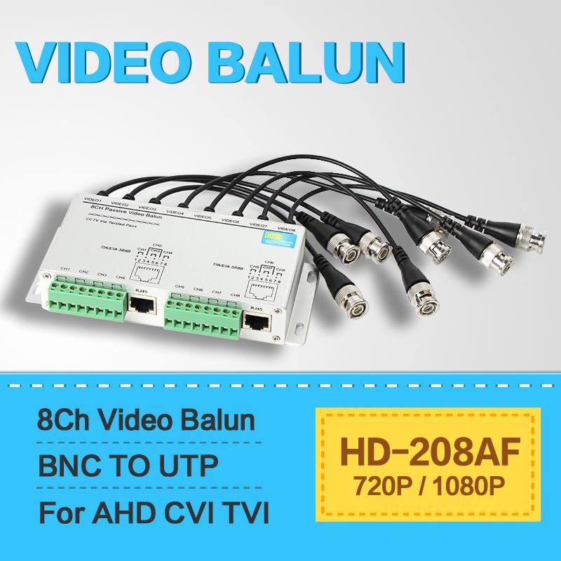 UTP 8Ch Passive Video Balun 8 Channel CAT5 CCTV BNC Video Balun Support 1080P/720P AHD,HDCVI,HDTVI Camera(China (Mainland))