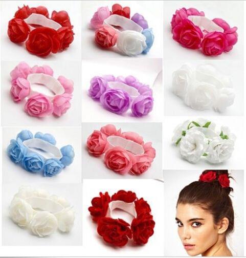 1 PCS New Fashion Red White Purple Flower Bun Garland Floral Head Knot Hair Top Scrunchie