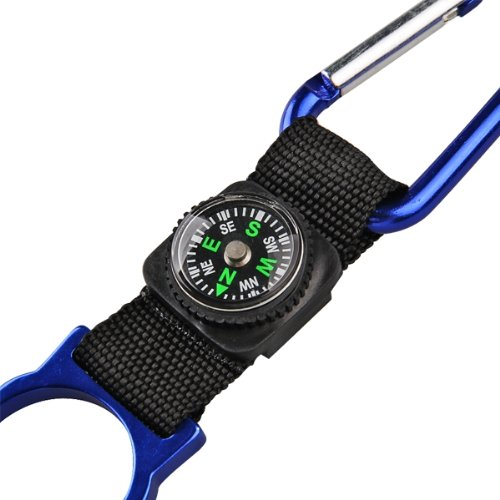 5 Black Carabiner Water Holder Bottle Clip Strap W/ Compass Camp FREE SHIPPING(China (Mainland))