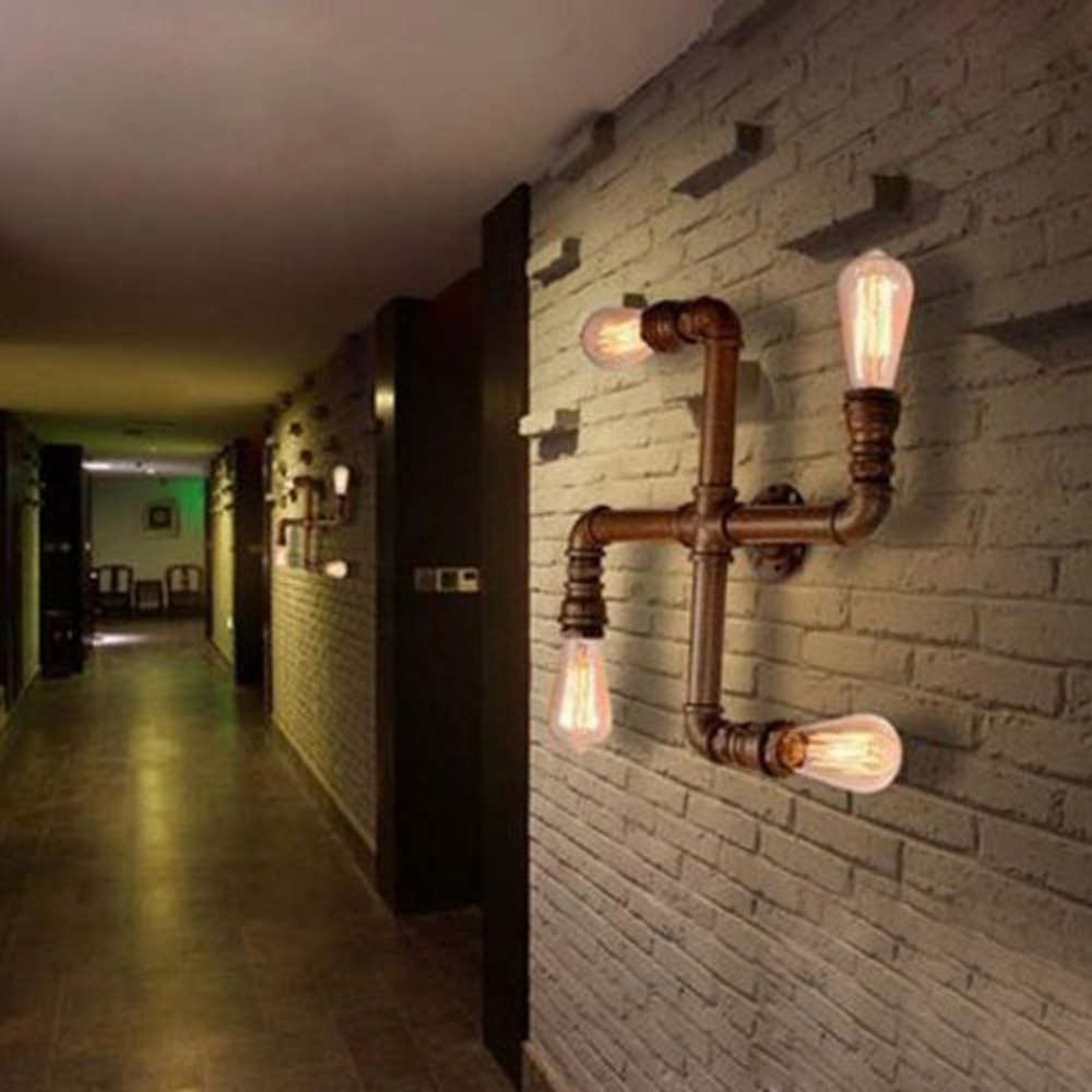 Nordic Industrial Style 4 Head Metal Water Pipe Wall Light American Country Loft Wall Lamp E27 Edison Vintage Bar Cafe Lustre(China (Mainland))
