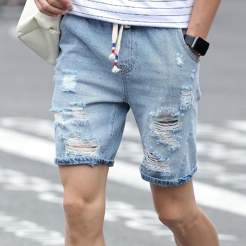 Mens white Jeans Shorts Slim Fit 2016 Fashion Summer Broken hole Short Jeans Men Size 28-34 Mens Denim Hip Hop Shorts(China (Mainland))