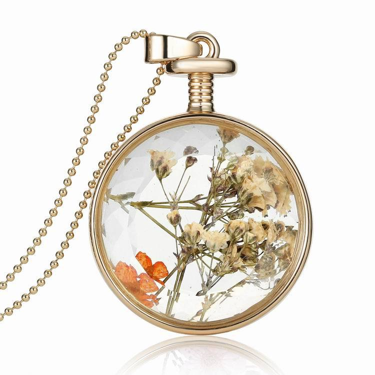 Accessories Samples Dried Flowers Gold-Plated Pendant Fashion Diy Necklace Alloy Necklace flower(China (Mainland))