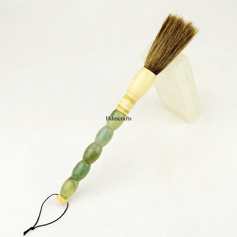 Traditional folk crafted chinese jade calligraphy brush