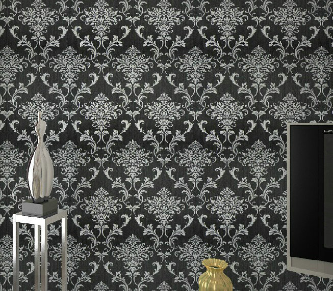 Pvc glitter black silver damask wallpaper background wall for Black white damask wallpaper mural