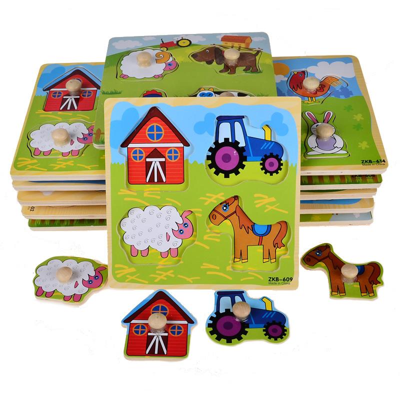BOHS Small Wooden Animals Cartoon Grab Peg Knob Puzzles Toy 14.8*14.8*0.8CM