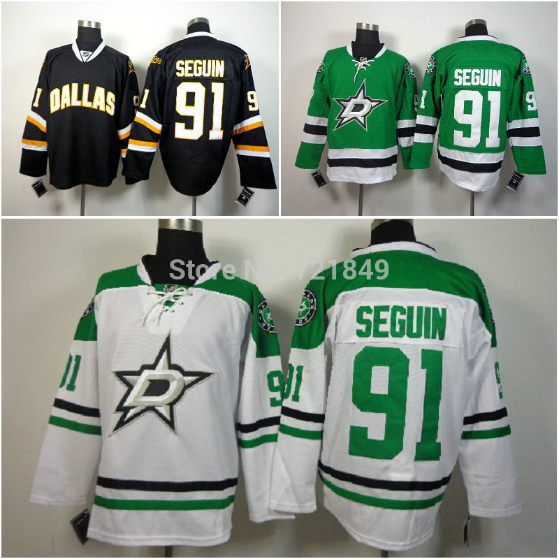 Hot Sale! New cheap Dallas Stars #91 Tyler Seguin Green white black Team Color Authentic Stitched mens ice hockey Jersey S-XXXL(China (Mainland))