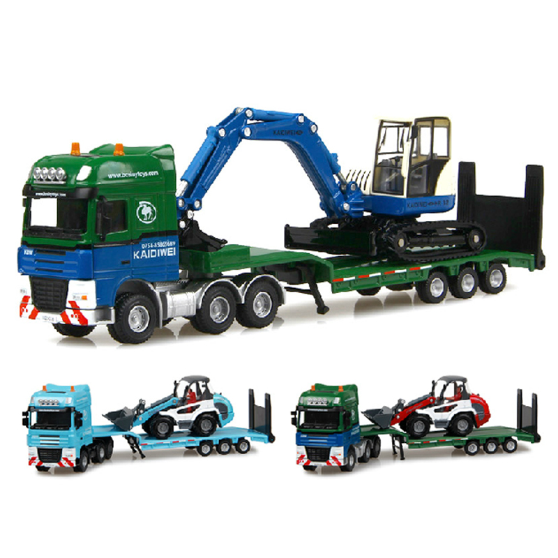 New Alloy engineering car model toy 1:50 tractor-trailer and bulldozer toys for children kids, educational toys(China (Mainland))