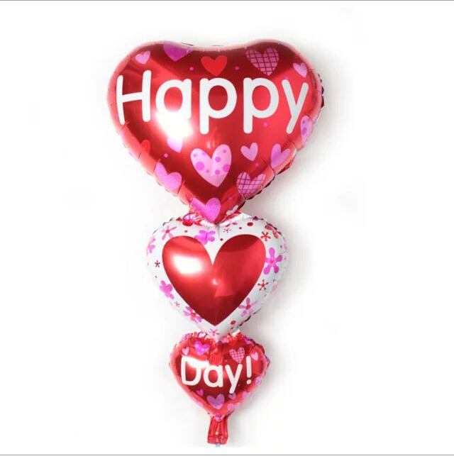 98*50cm new string happy string day foil balloon balloon heart heart balloon aluminum helium balloon(China (Mainland))