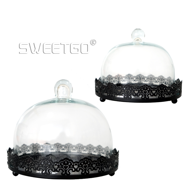 1 Pcs Black Round Wedding Pastry Platter Reusable Cake Doilies Decorative Cake Fruit Dessert Plate Pan With Cover #1511030(China (Mainland))