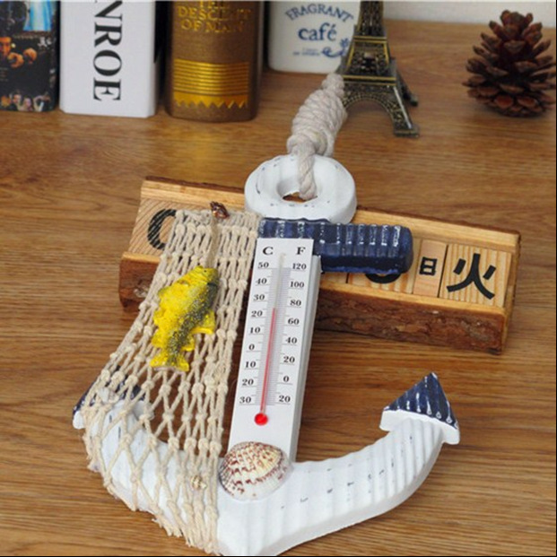 Hot Sell Mediterranean Style Wood Boat Anchor Wooden Decorations Hook Wall Pendant Home Wooden