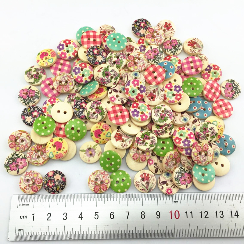 Гаджет  15mm scrapbooking Bulk DIY Flower butterflt dot  wooden mixed round shape buttons for craft mixed accessories product None Дом и Сад