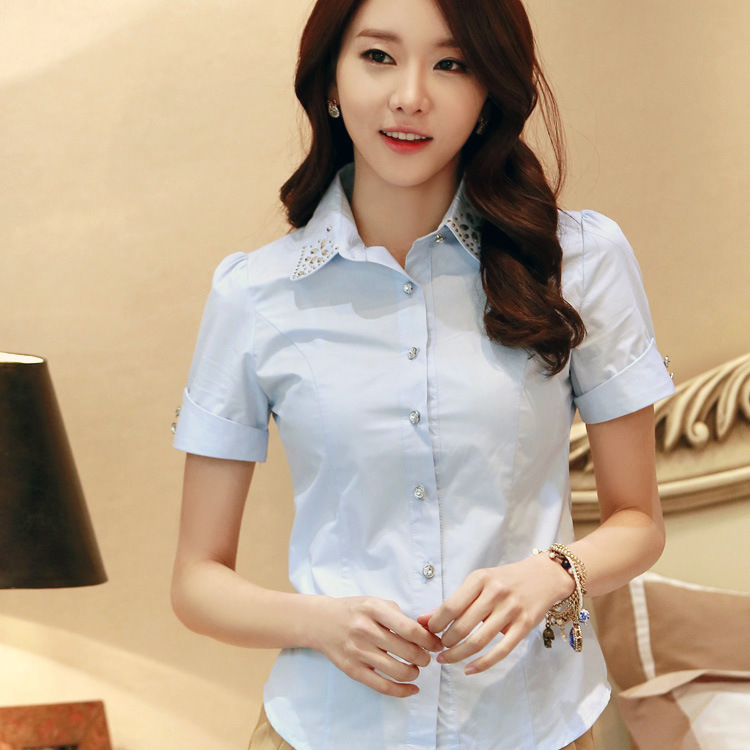 2015 Acting Women Korean summer wear short-sleeved shirt lapel cotton blouse hotel Fabrication 607(China (Mainland))