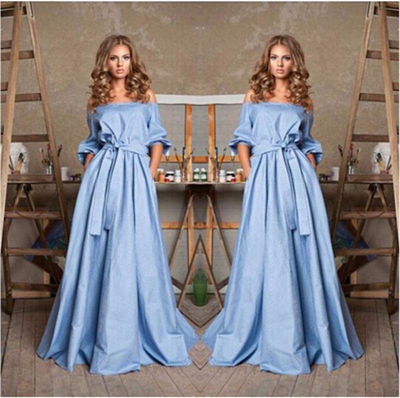 2015 Fashion Women Straight Dresses Cute Blue Strapless Long Maxi Dress Sashes Shoulder Half Sleeve robe longue - ZYF store