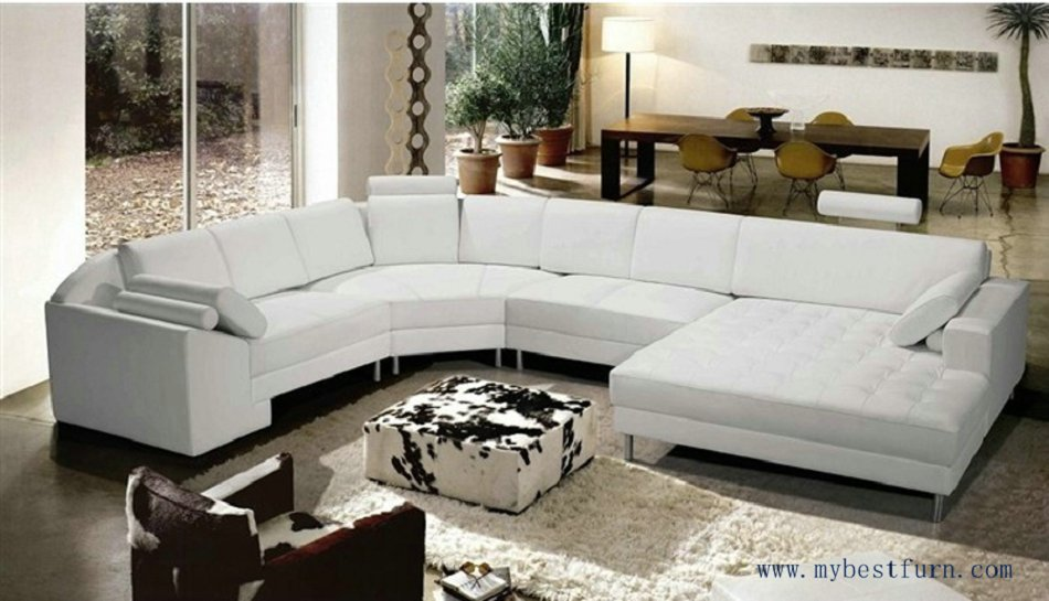 shipping extra large size u shaped villa couch genuine leather sofa. Black Bedroom Furniture Sets. Home Design Ideas