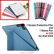 4 Shapes Stand Design Magnetic Leather Case for ipad 4 3 2 Smart Cover Smartcover for iPad4 iPad3 iPad2 Utrathin Fashion Style(China (Mainland))