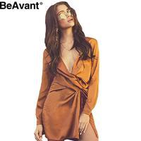 BeAvant Satin high split v neck mini dress Women pajama long sleeve party white sexy dress Autumn 2016 short dresses vestidos