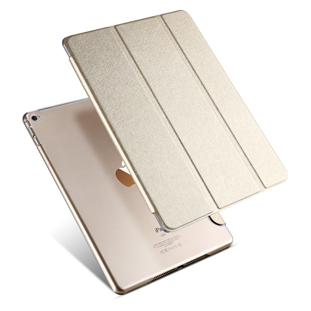 Tablets Accessories Smart Sleep Wake Transparent Silk Leather Case For ipad 6 Three Fold Stand Support Cover For iPad Air 2(China (Mainland))