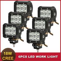 4 Inch CREE 18W LED Work Light Offroad Flood Beam 12V 24V Car Auto Headlight SUV ATV AWD 4X4 UTV Driving Fog Lamp Daytime DRL