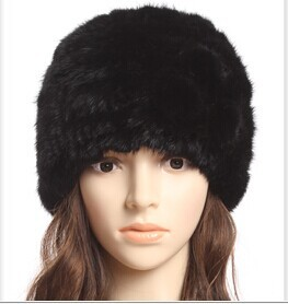 Free shipping 2015 female autumn and winter real natural fur hat knitted mink hat genuine cap(China (Mainland))