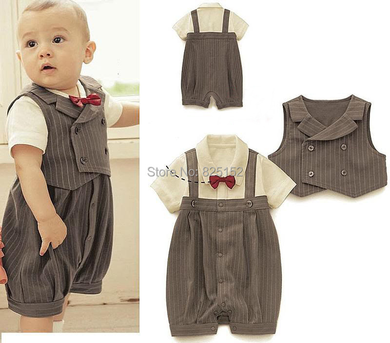 Retail infant Gentleman styles short boys suit/Popular baby suit/Stripe vest+ baby romper Grey climb clothes kids body suit(China (Mainland))