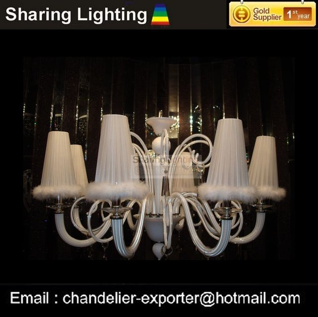 [Sharing Lighting]8 light white glass chandelier,modern crystal chandelier+free shipping