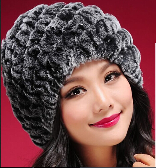 Hotselling Real Genuine Knit Rex Rabbit Fur Hat Natural Rabbit Fur Caps Fashion Women Beanie Headgear Various Colors(China (Mainland))