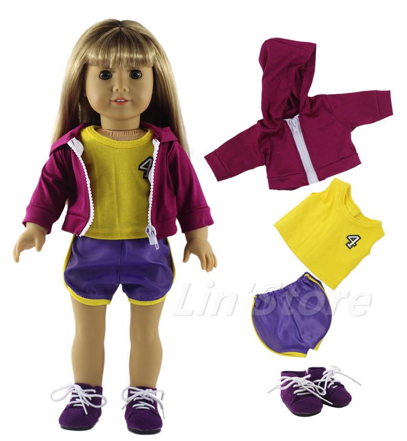Basketball clothing Doll Clothes for 18'' American Girl Doll Handmade Coat+top+shorts+shoes(China (Mainland))