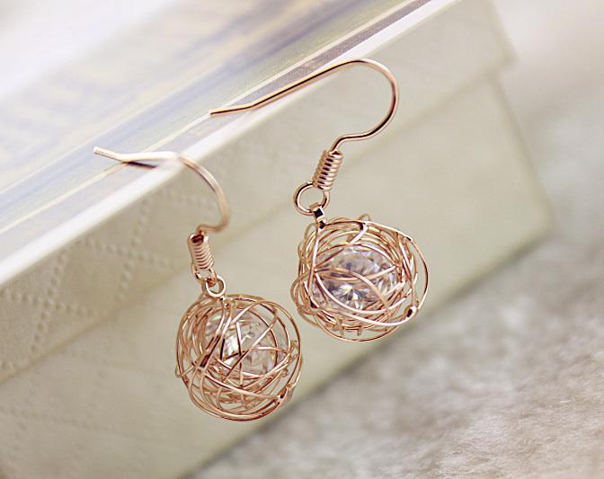 Fashion Twist Braid Ball Nest Crystal Rose Gold Stud Earrings for Women,Large Hoop Crystal Earrings,Ear Piercing Stud Earrings(China (Mainland))