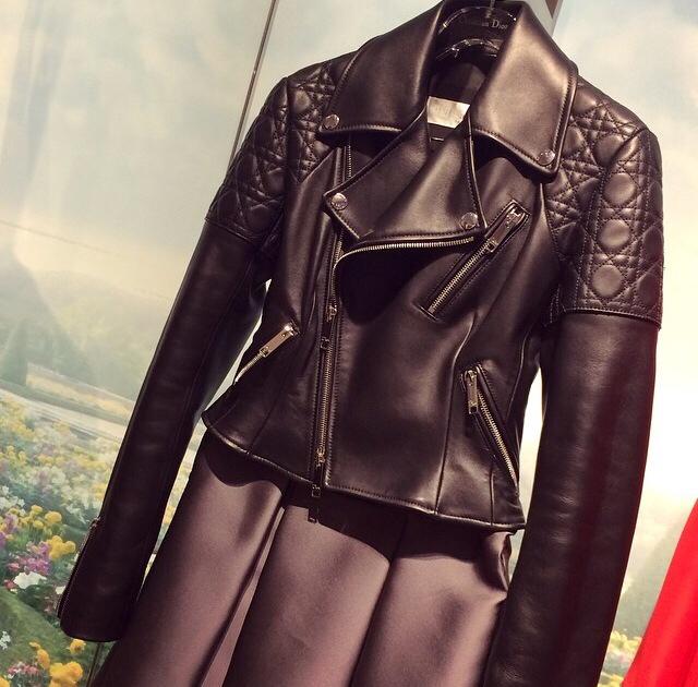 2015 Famous Brand Jacket 100% Натуральная кожа jacket Женщиныs Черный Leather outerwear ...