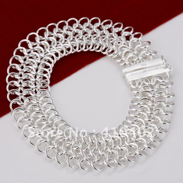 free shipping H005 fashion wicker copper plate silver net shaped chain bracelets bangle for women,handmade fashion Bracelet(China (Mainland))