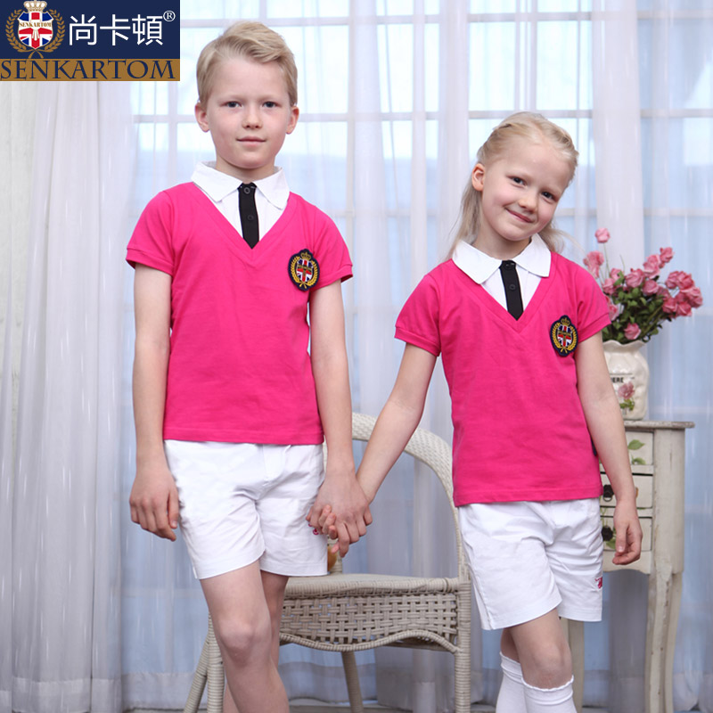 children summer set primary school uniform class service kindergarten uniforms T-shirt 100% cotton - SENKARTOM Official Store store
