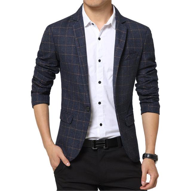 Мужчины свободного покроя блейзер 2016 весна мужские костюмы пиджак одной кнопки ...