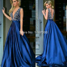New Arrival Sexy V Neck Royal Blue Elegant Prom Dress 2017 Pearls Beading Long Evening Formal Party Gowns Matte Satin Lady Dress(China (Mainland))