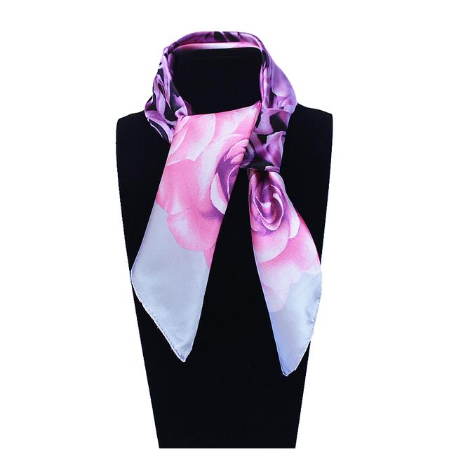 60 см * 60 см женщин 2016 новинка имитационные шелковый цифровой печать цветок розы печатных офис леди косынка горячая распродажа